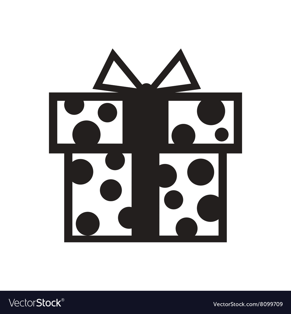Flat icon in black and white gift box vector