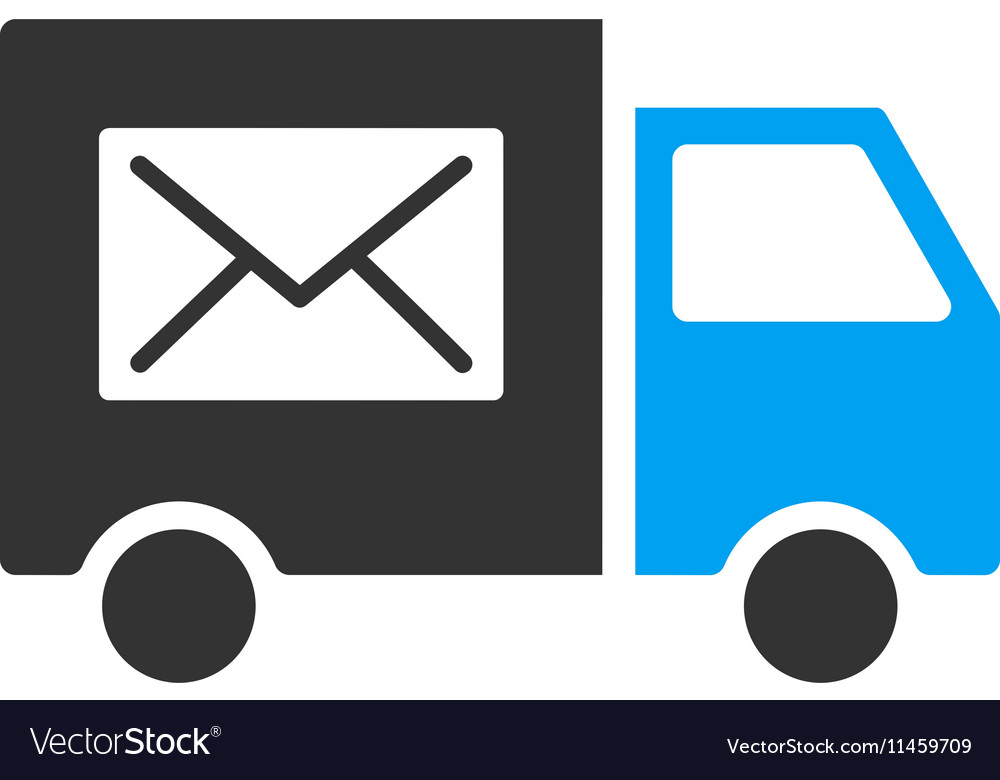 Mail delivery van flat icon vector