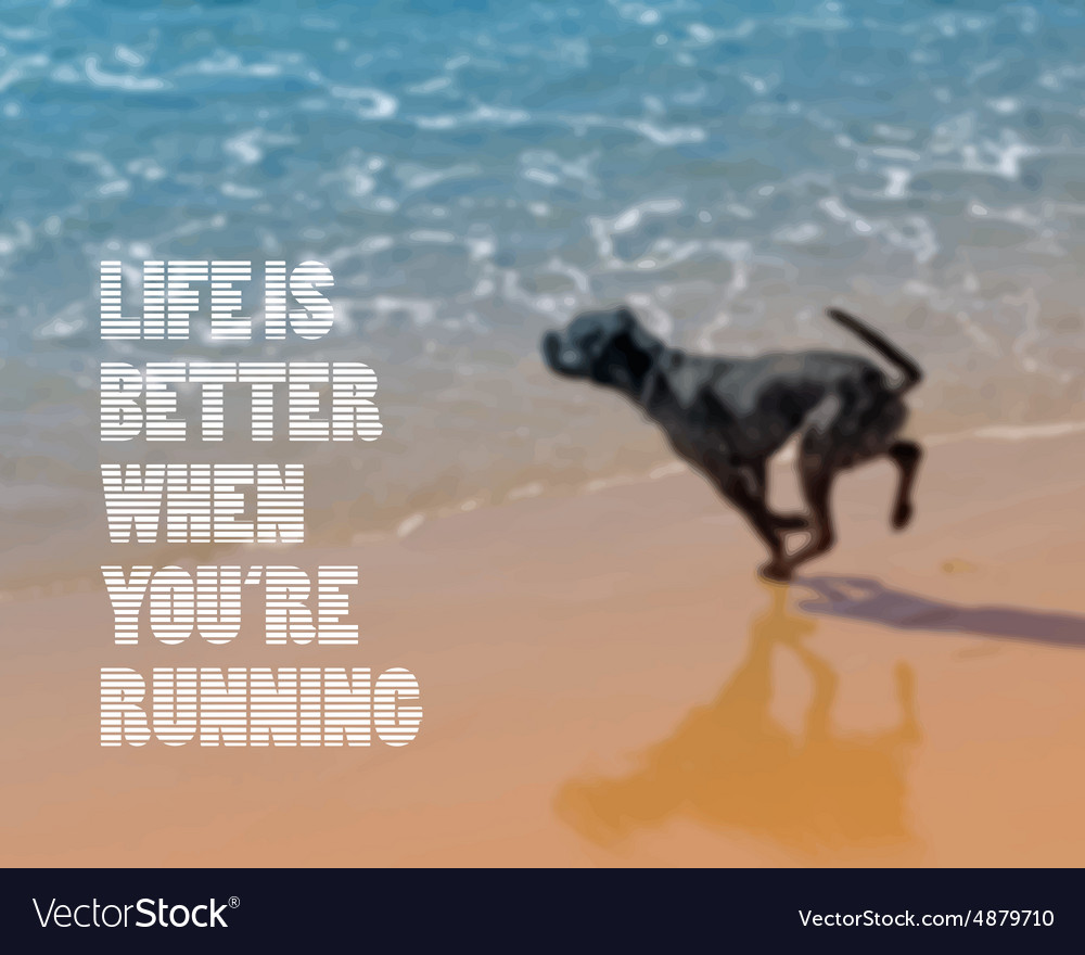 Dog running on the beach blurred background vector