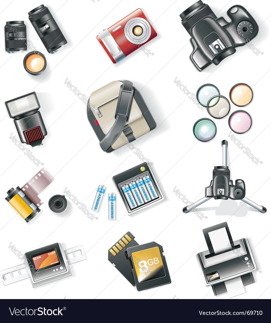 Photography equipment icon set vector