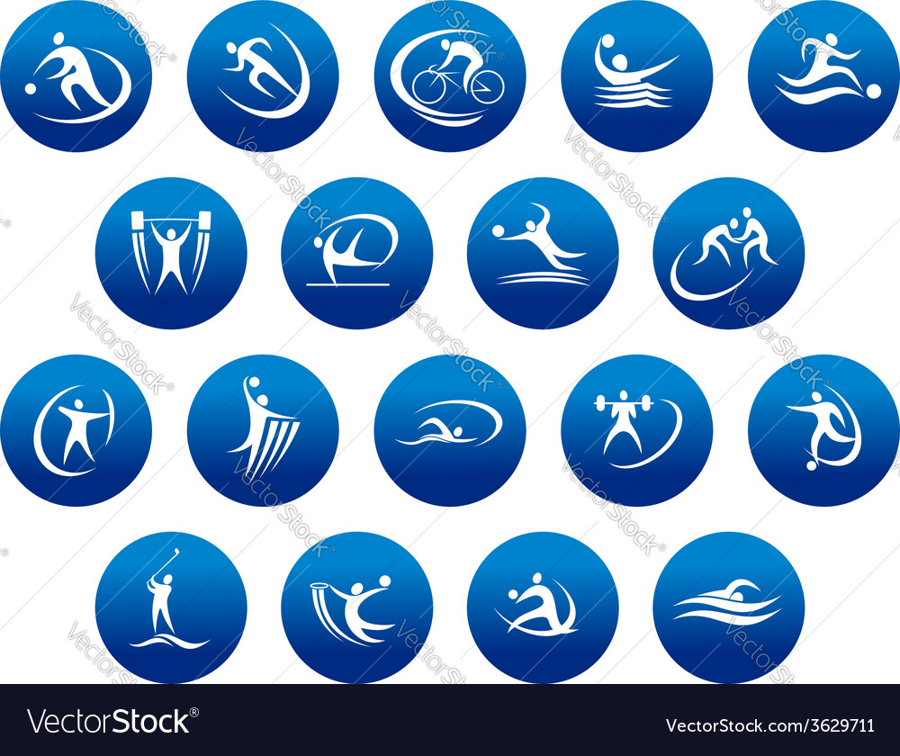 Athletics and team sport icons or symbols vector