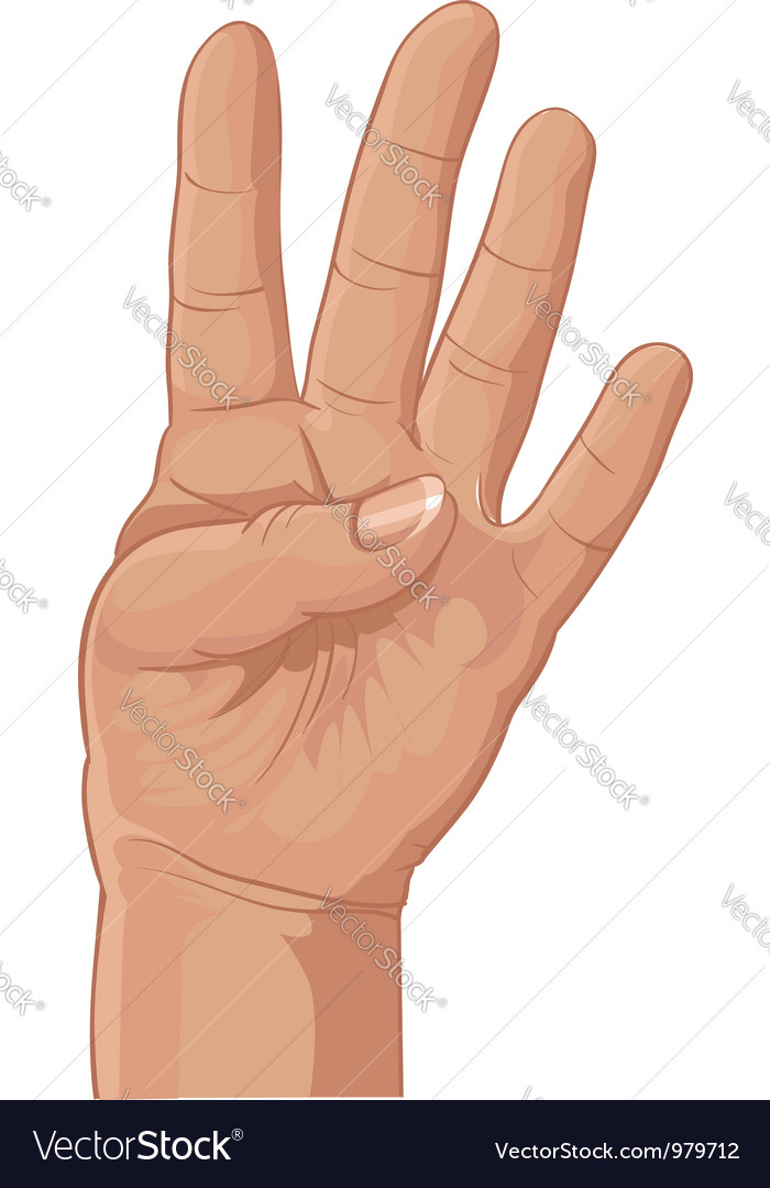 Four from fingers vector