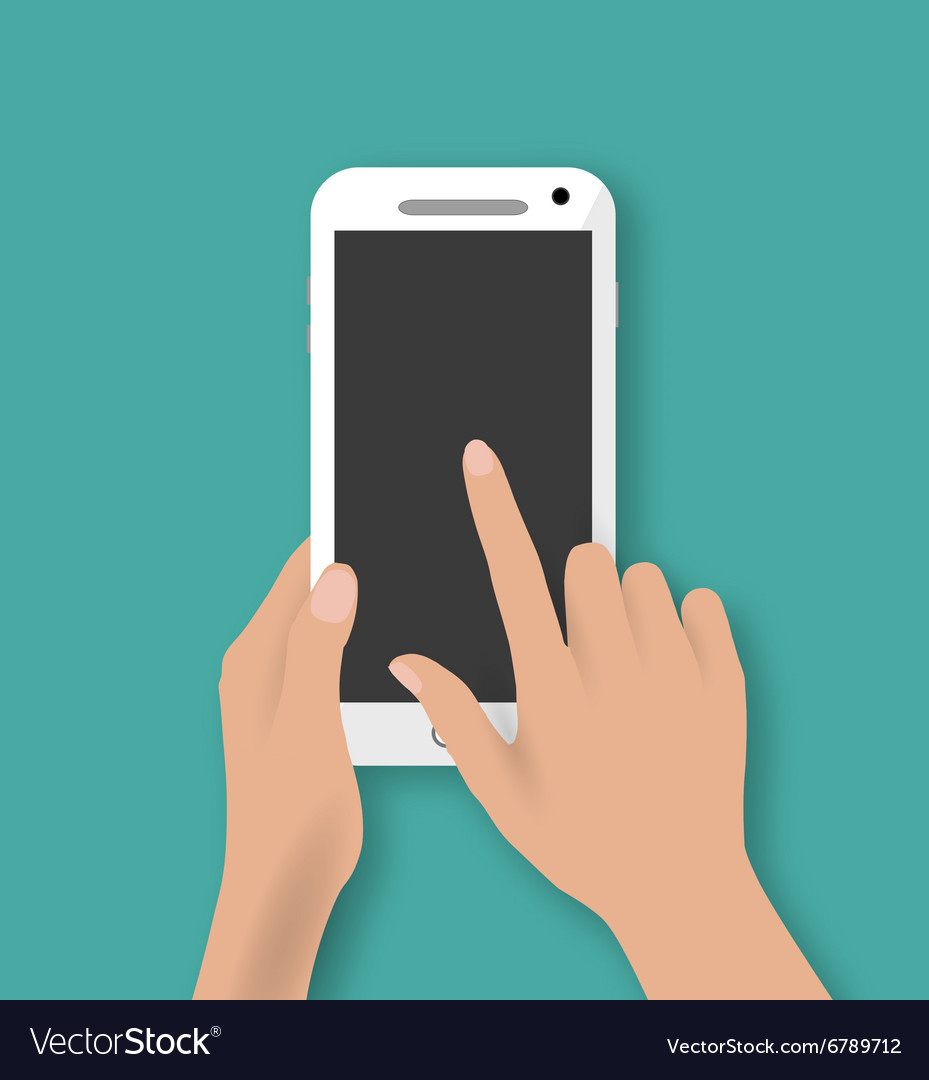 Hand touching screen of white phone vector