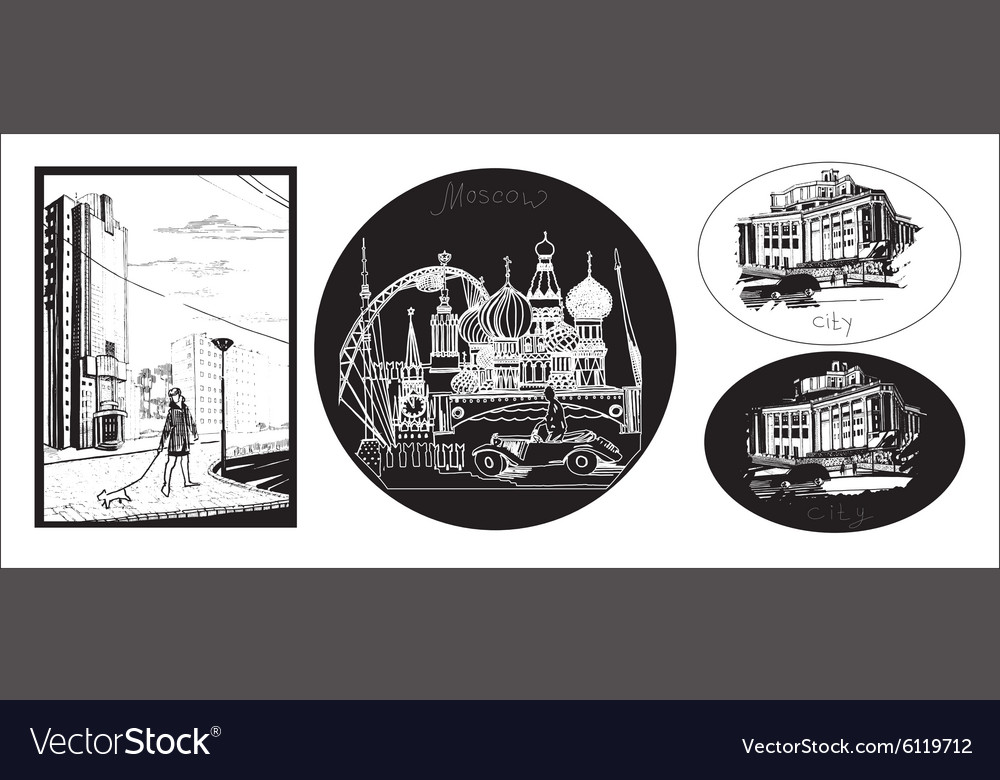 Set of hand draw icons of town vector