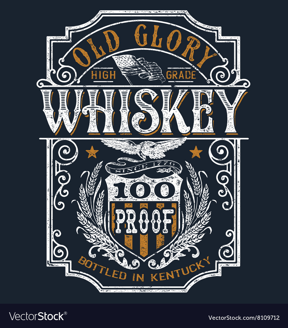 Vintage americana whiskey label tshirt graphic vector