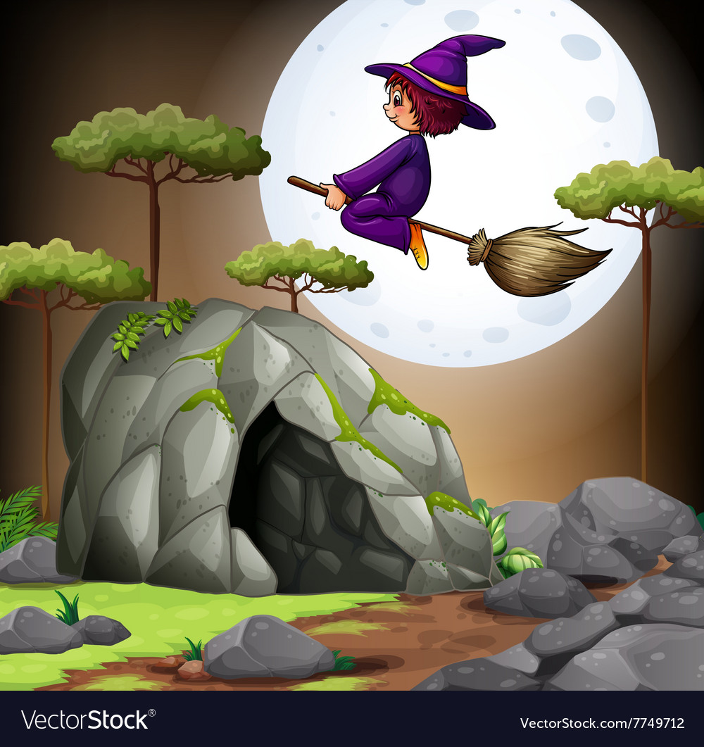 Witch flying over the cave vector