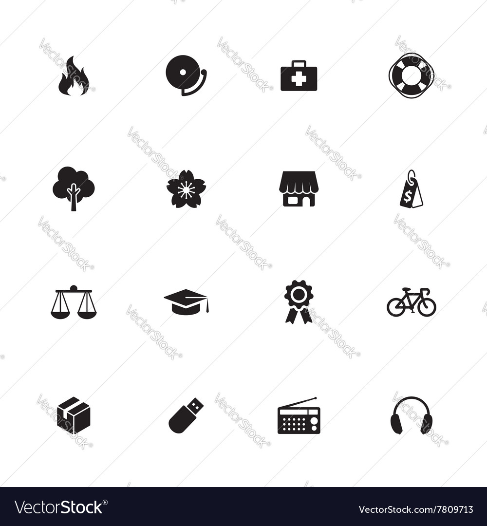 Black simple flat icon set 6 vector