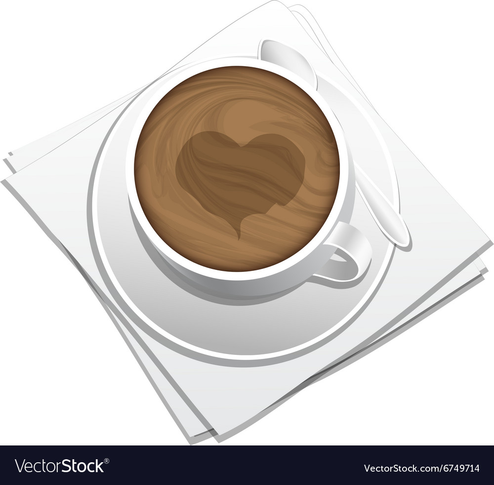 Cup of coffee on the sauser vector