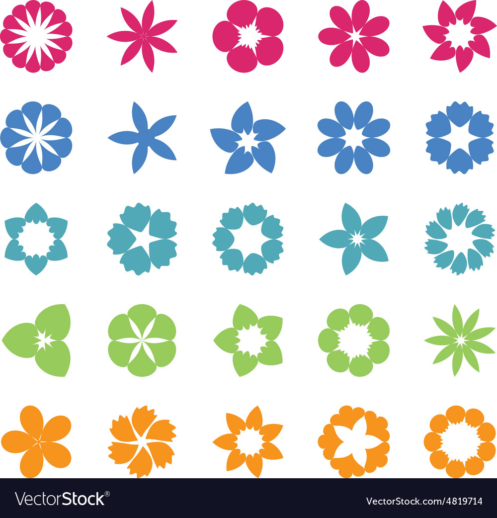 Set of flat icon flower vector