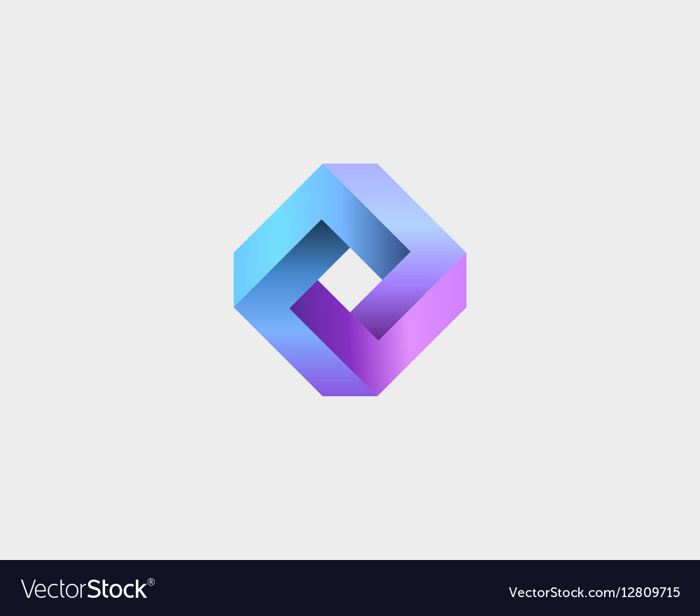 Abstract infinity cube logo design template vector