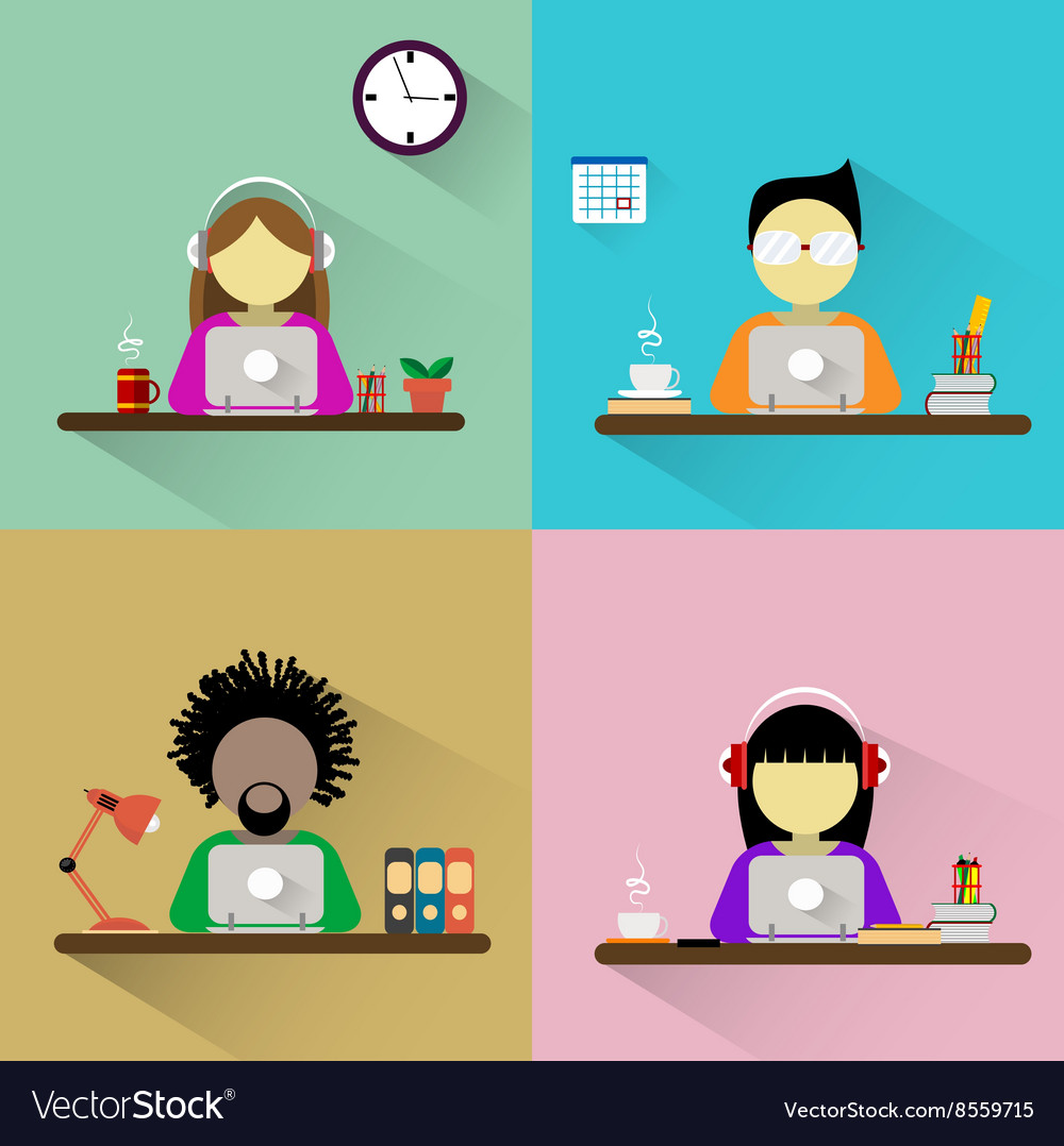 Worker sitting at the table with computer vector