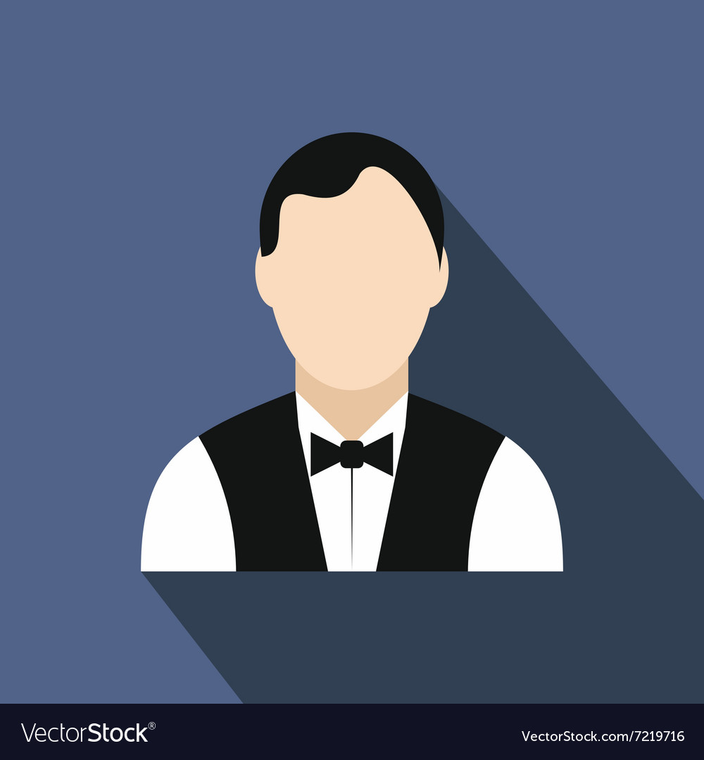 Waiter flat icon vector
