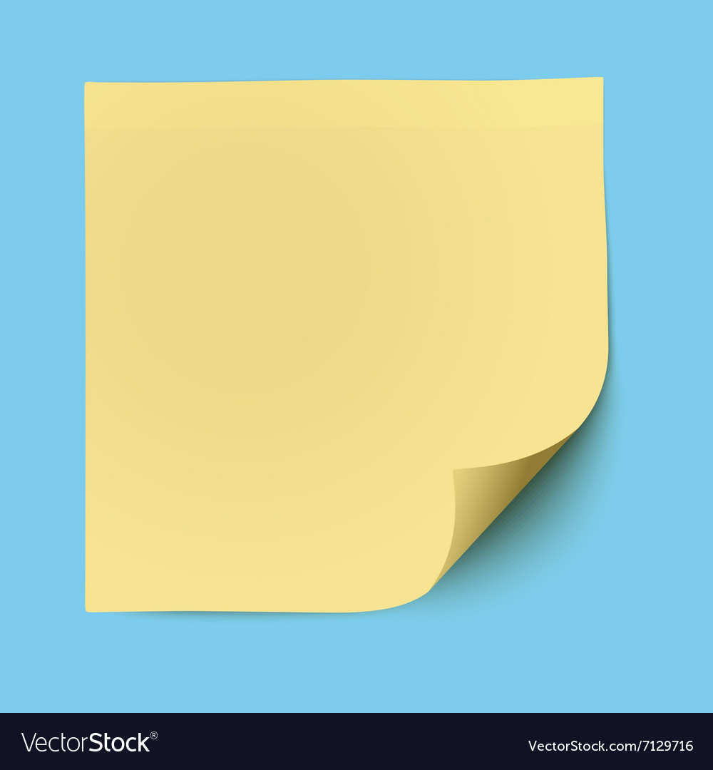 Yellow sticky note isolated vector