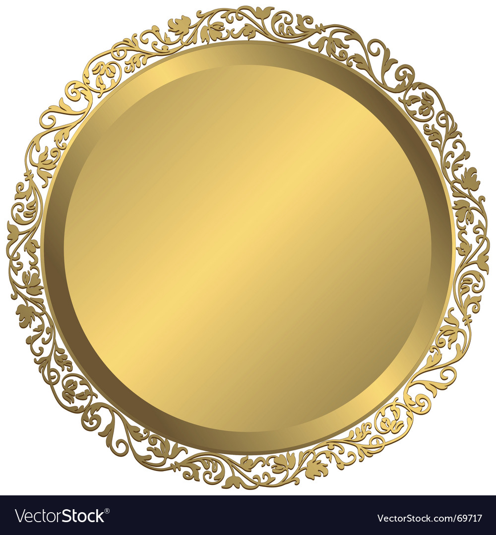 Golden plate with vintage ornament vector