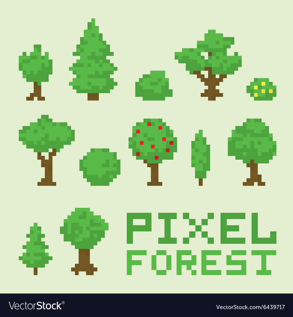 Pixel art forest isolated set vector
