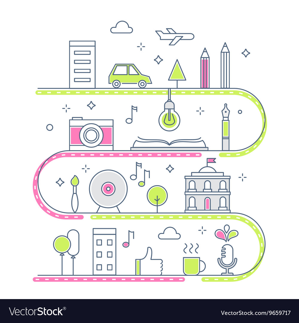 Road through imaginary line town creative process vector