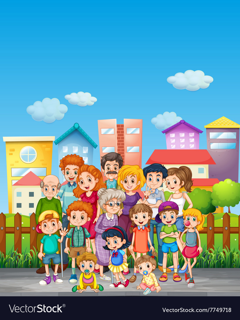 Family members standing on the street vector