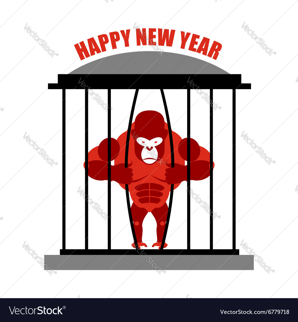 Gorilla wants to escape from cage symbol of new vector
