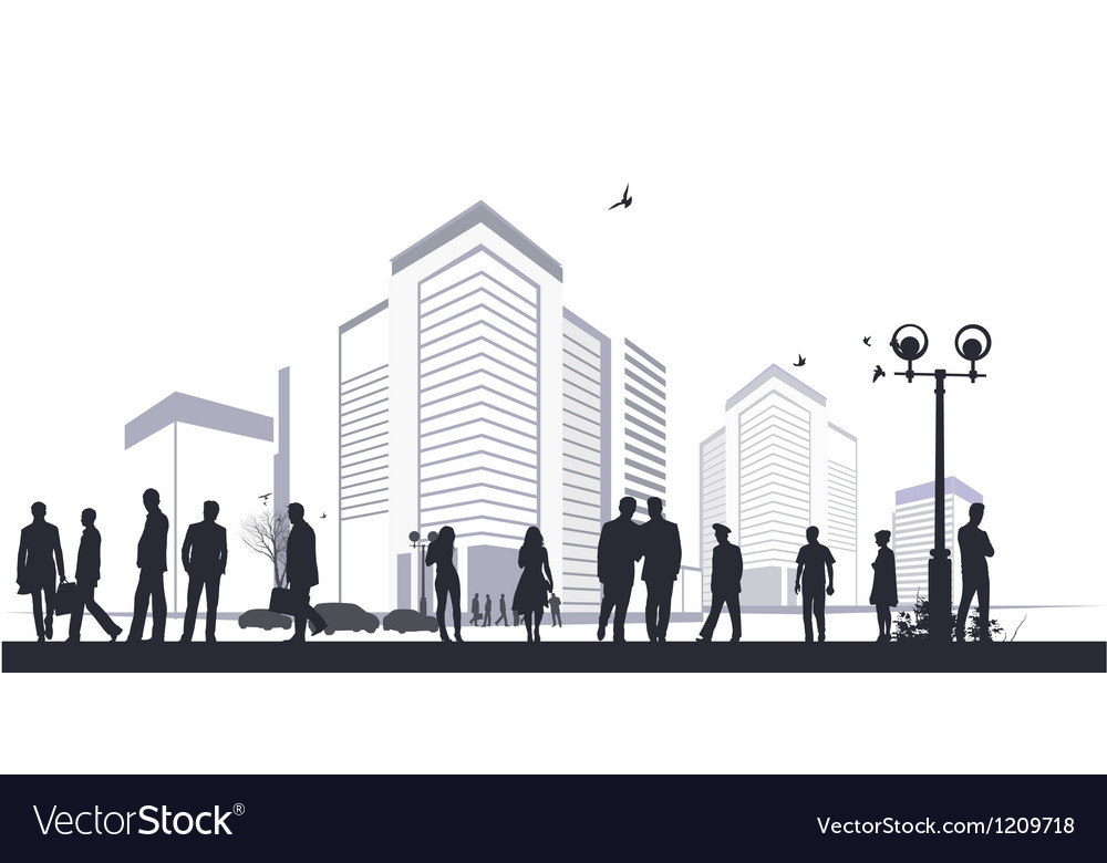 Many silhouettes in city vector