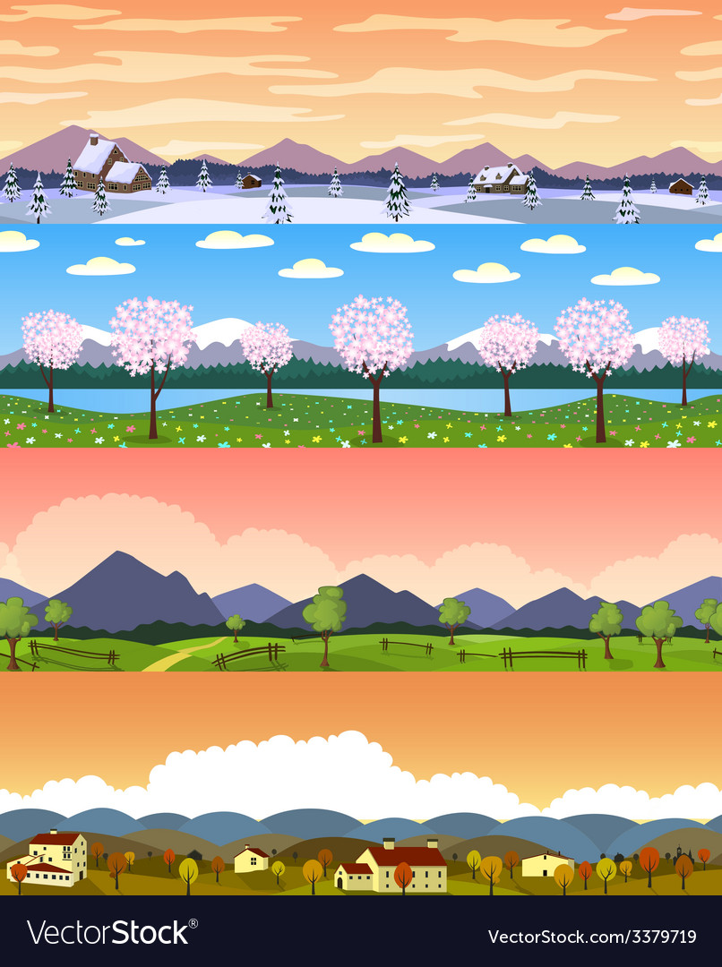 Four seasons landscape cartoon seamless vector