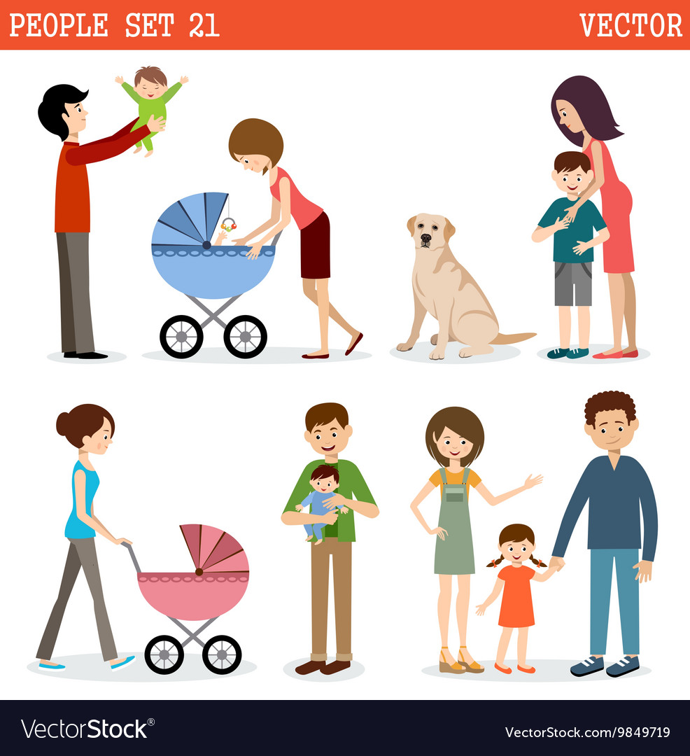 Set of people with children and dog vector