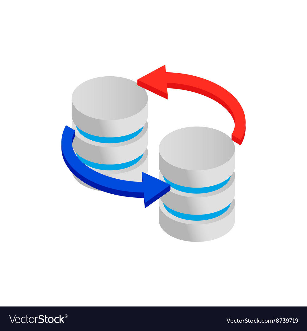 Sync database icon isometric 3d style vector