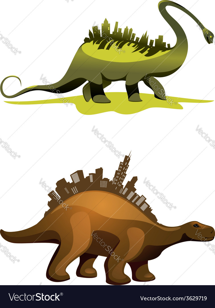 Two dinosaurs with buildings on neck vector