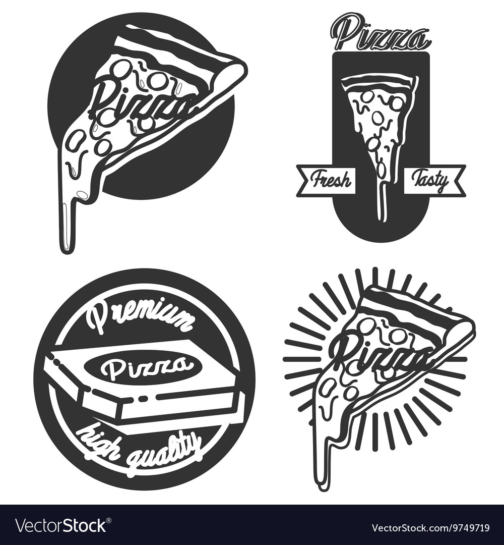 Vintage pizza emblems vector