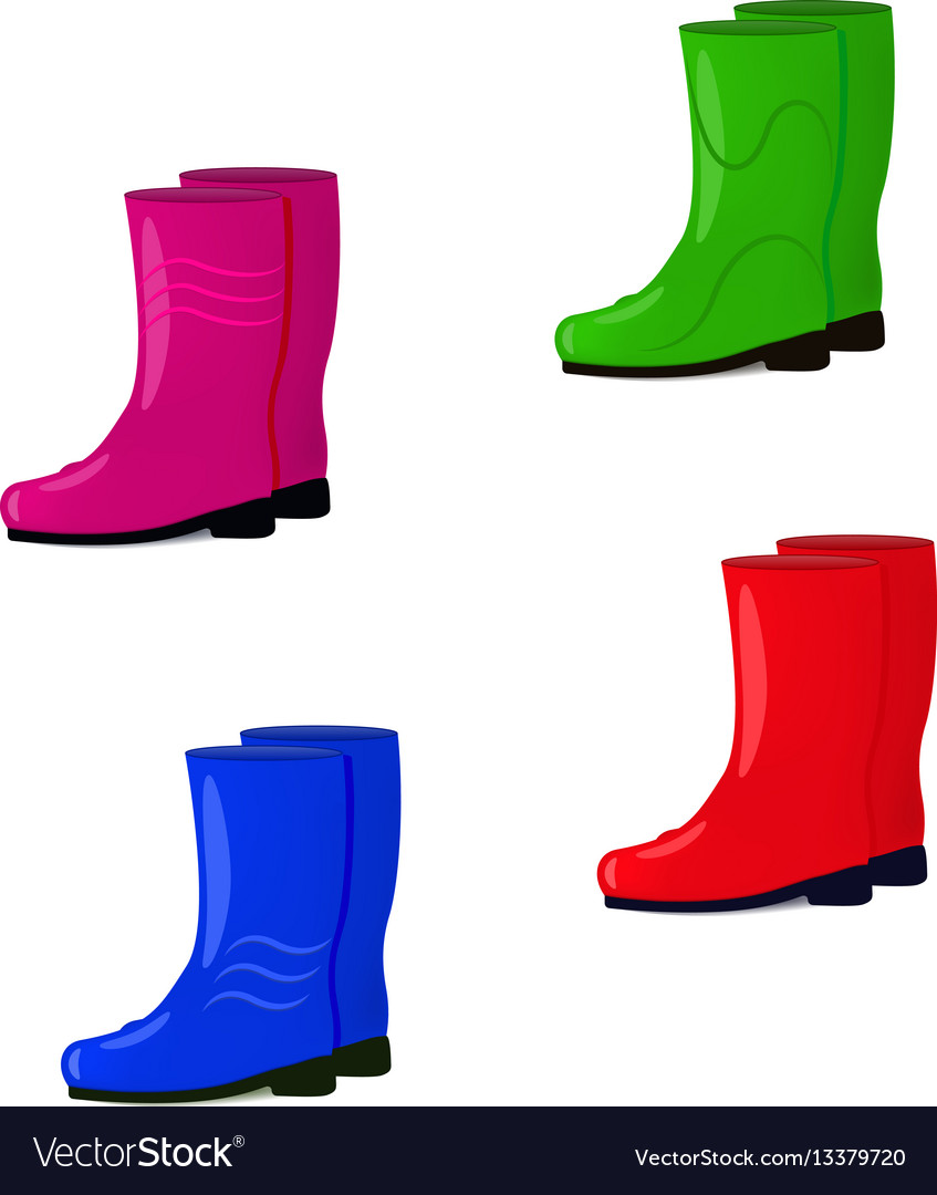 A set of rubber boots vector