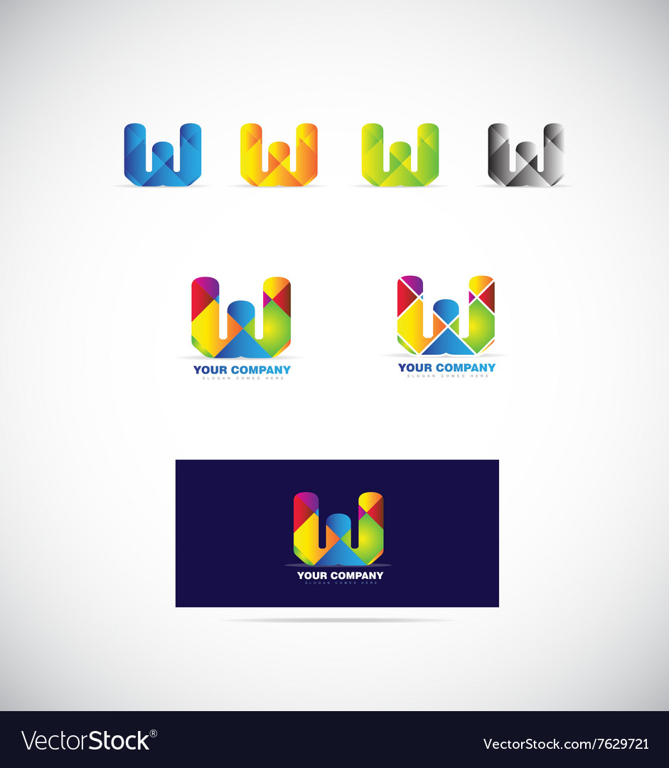 Letter w logo icon set vector