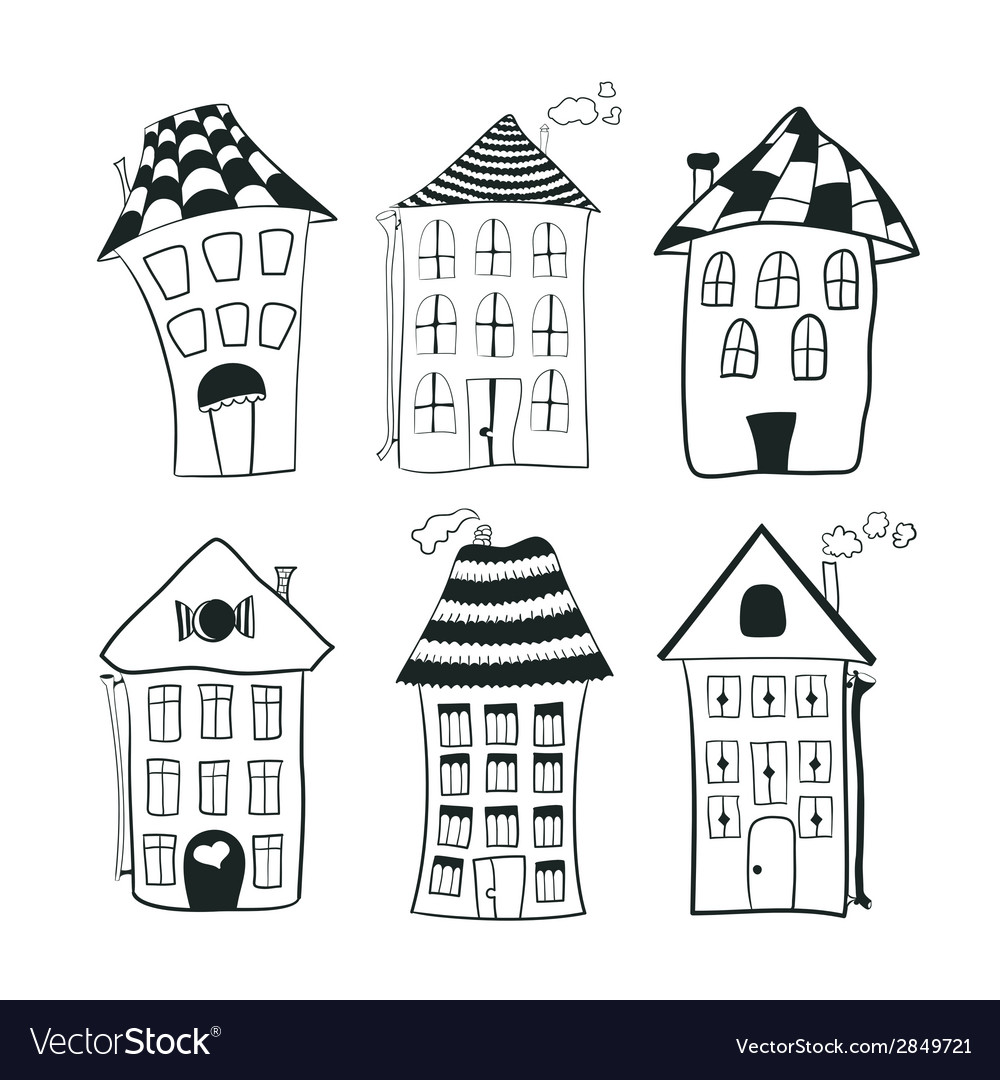 Set sketch black and white outline houses in vector