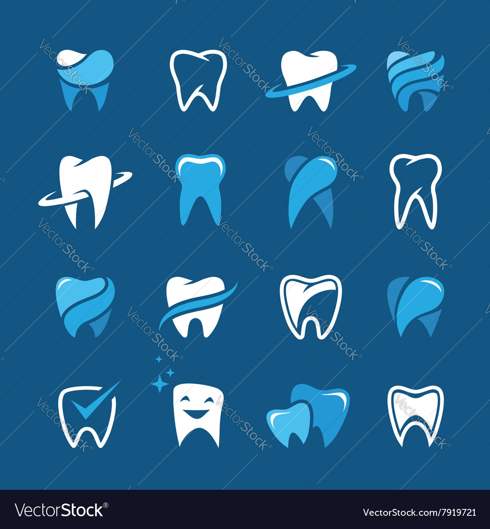 Teeth icon set on blue background vector