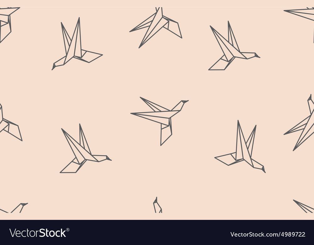 Birds origami ornament vector