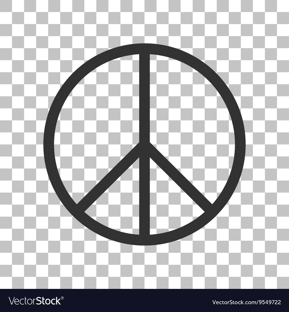 Peace sign dark gray icon on vector