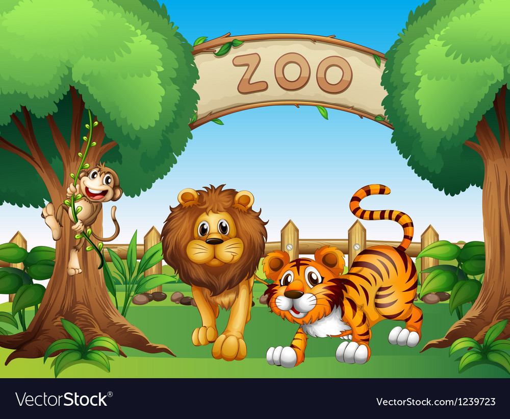 A monkey a lion and a tiger inside the wooden vector