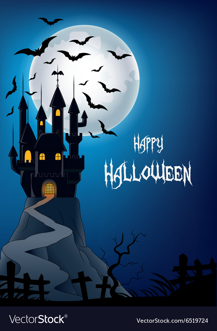 Haunted house on the hill vector