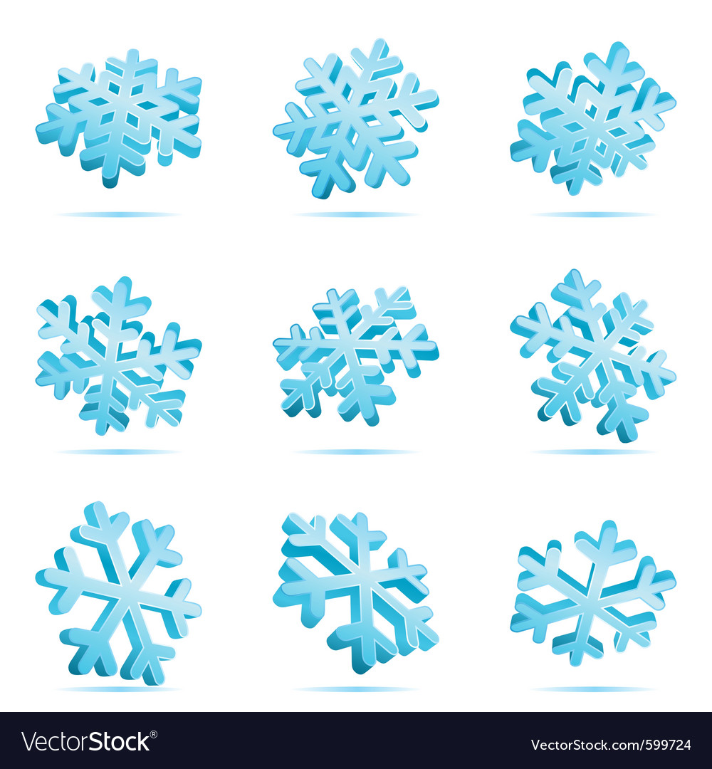 Set 3d blue glossy snowflake vector