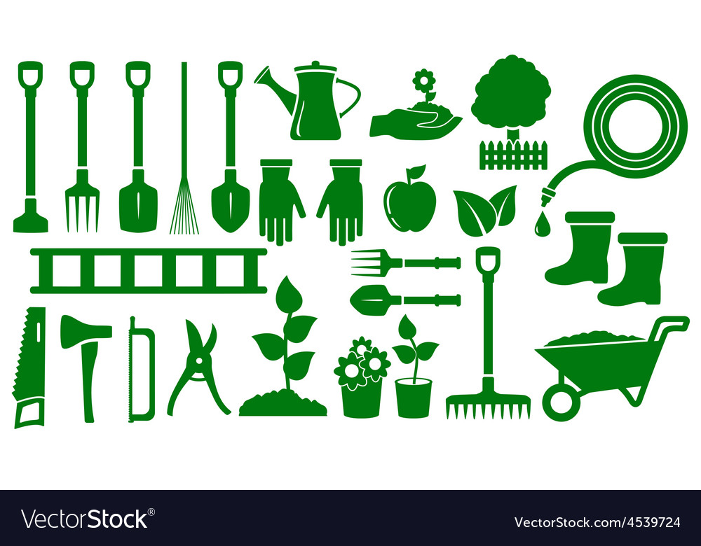 Set isolated green garden tools vector