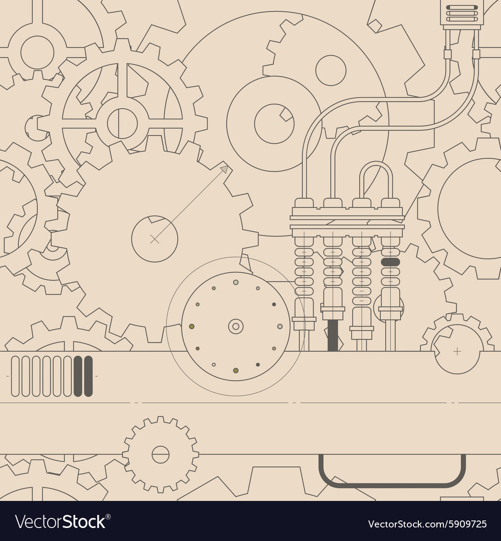 Horizontal line steampunk gear seamless pattern vector
