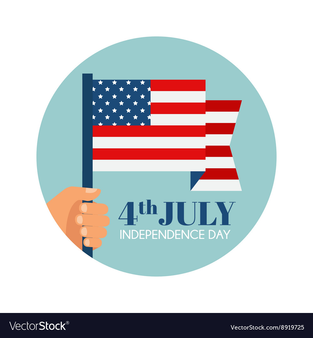 Independence day in america hand holding usa flag vector