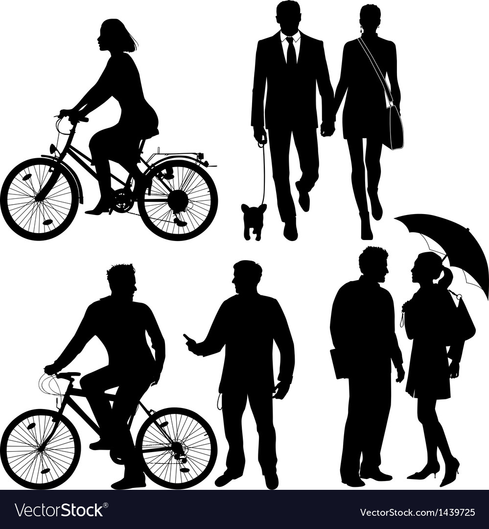 Several people on the street  silhouettes vector