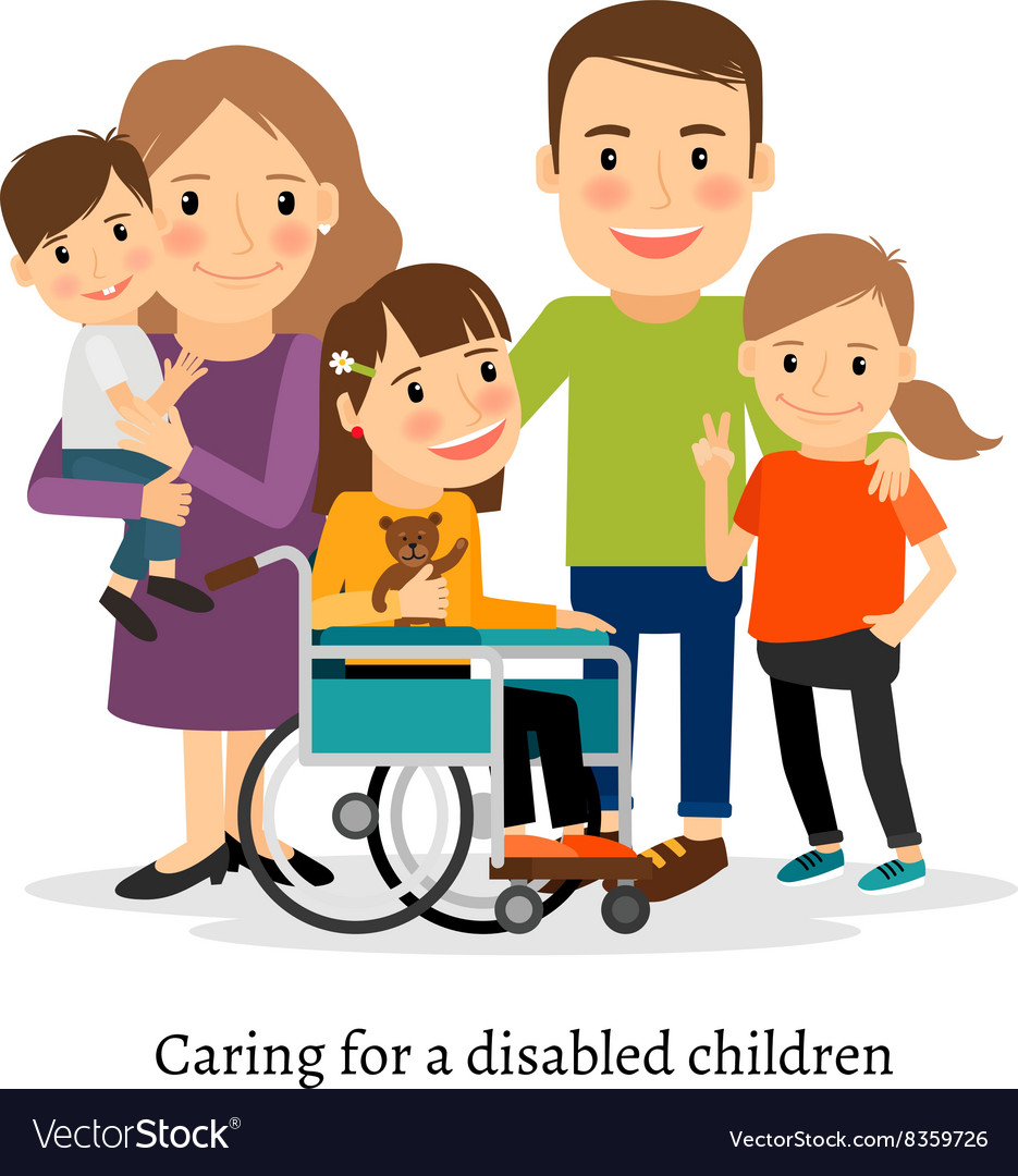 Family with special needs children vector