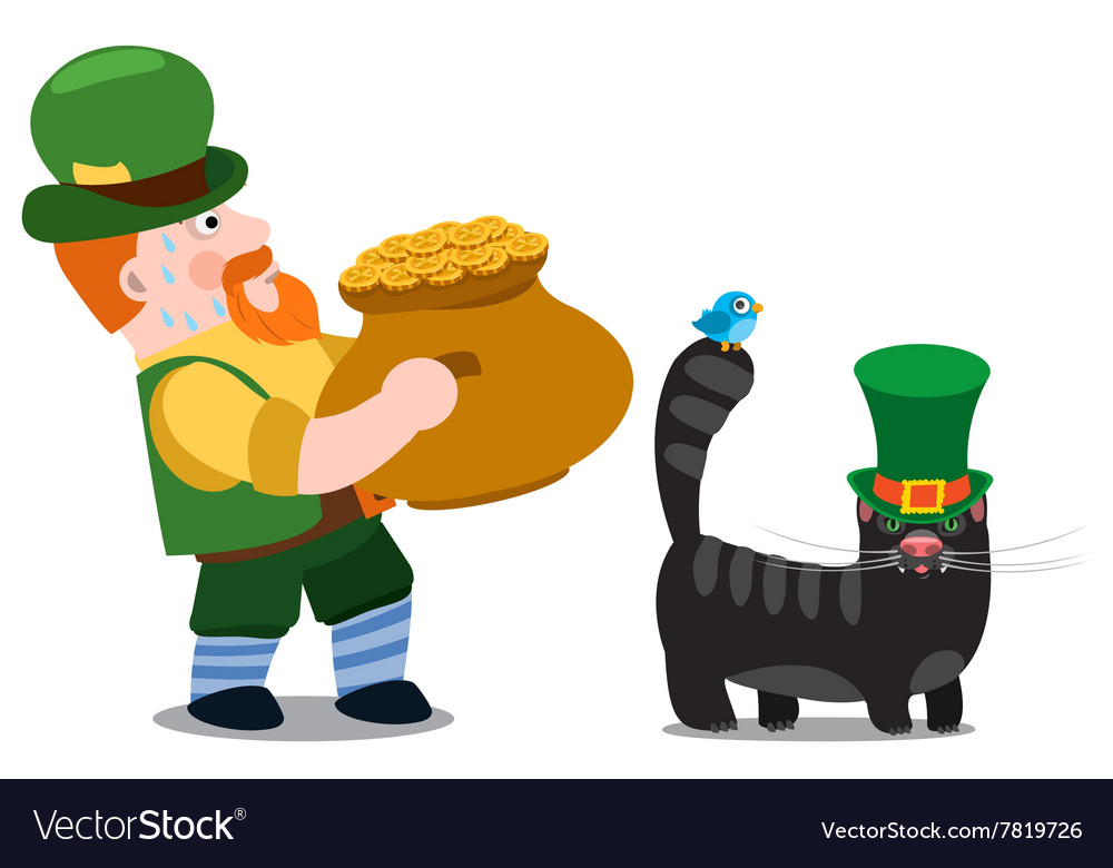 Man with a pot of gold st patrick day vector
