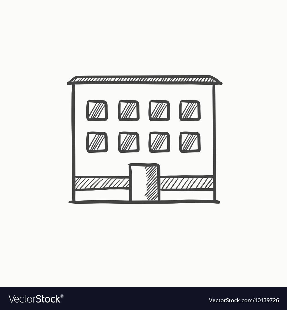Office building sketch icon vector