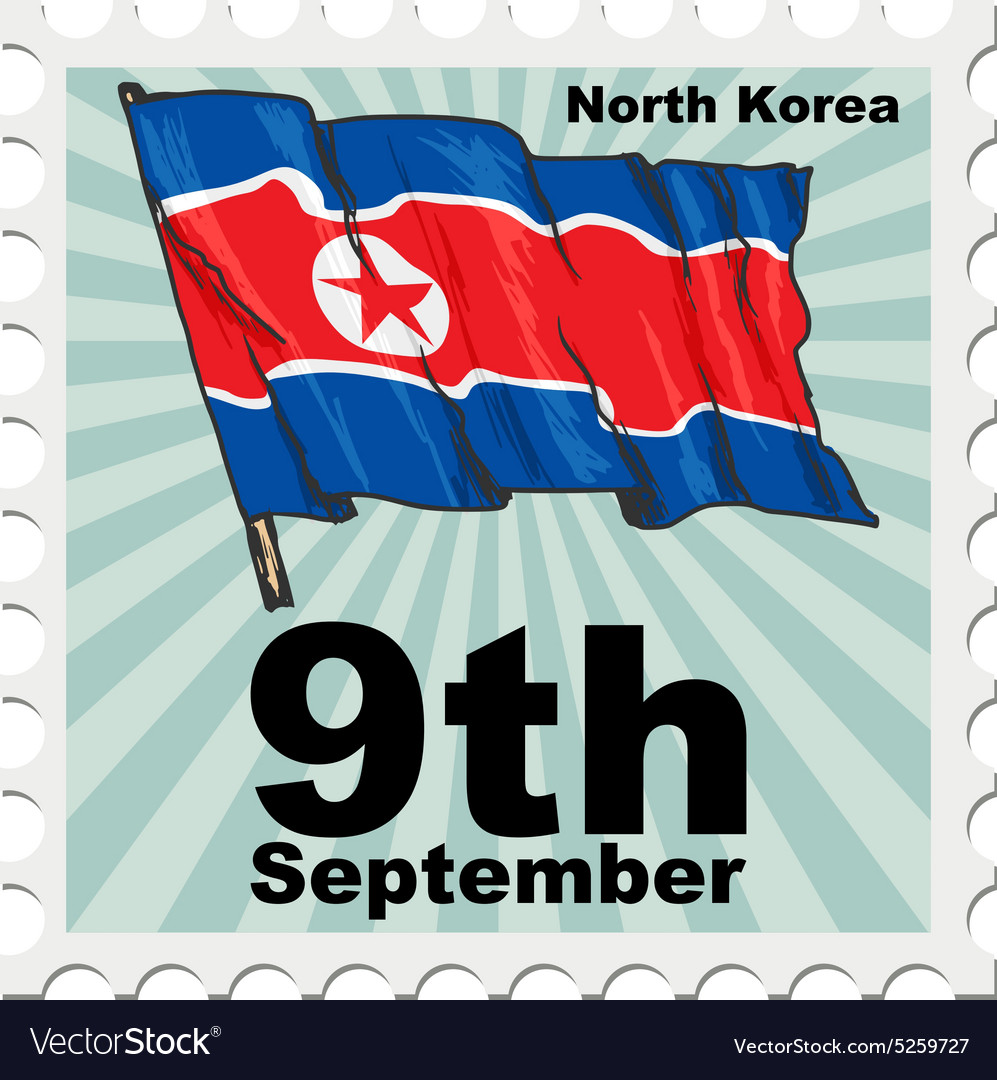 Post stamp of national day of north korea vector
