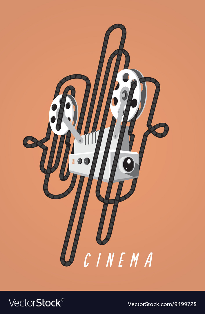 Cinema vintage poster with movie projector and vector