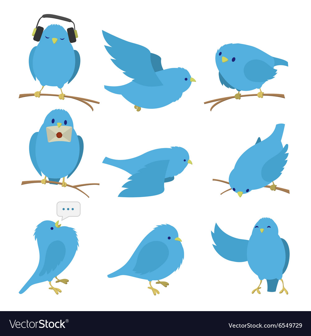 Blue birds set vector