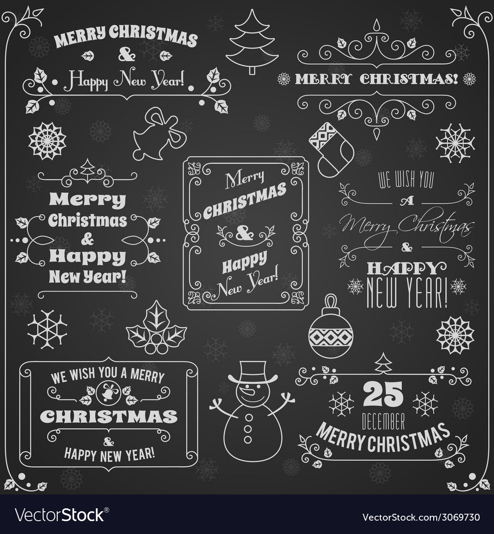 Christmas labels chalkboard set vector