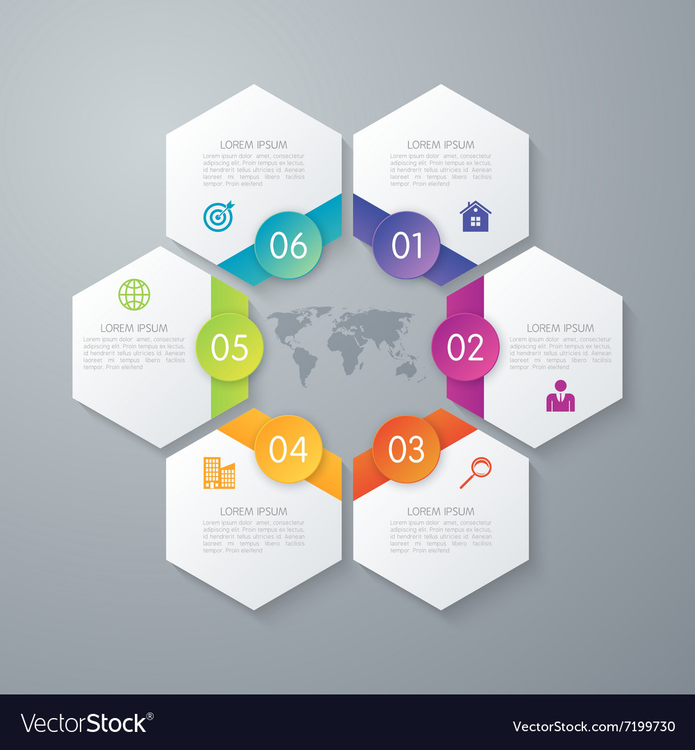 Paper infographics hexagons vector