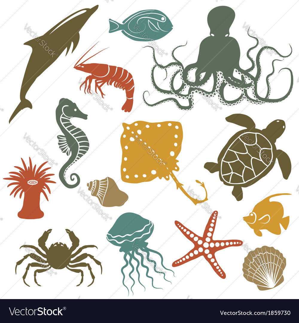 Sea animals and fish icons vector